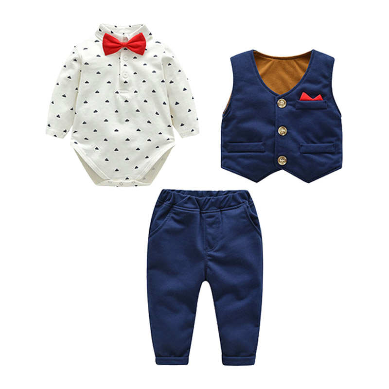 2018 Fashion Baby Boys Clothes Set Bodysuits + Vest + Pants Gentleman Suit  For Boys Children Clothing Cotton Costume For Kids2018 Fashion Baby Boys Clothes Set Bodysuits + Vest + Pants Gentleman Suit  For Boys Children Clothing Cotton Costume For Kids