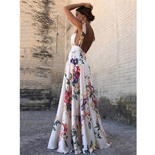 Sexy Floral Print Frauen Sommer Sleeveless V-ausschnitt Backless Vintage Lange Boho Party Cocktail Casual Lose Strand Rosa Kleid(China)