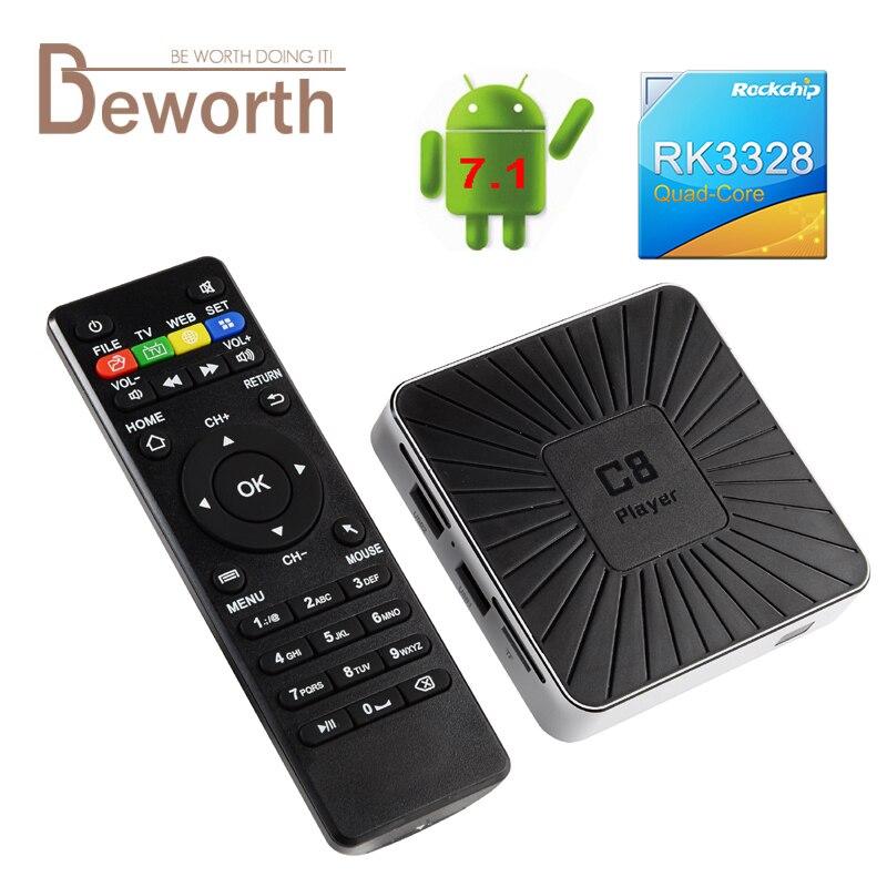 Android 7.1 Smart TV Box RK3328 Quad Core Streaming Media Player 1GB EMMC RAM 8GB ROM 2.4G Wifi 4K Mini PC C8 Set Top Box USB3.0 smart android 4 2 tv box quad core network media player 8gb ram 2gb ddr3 with wifi support google tv dlan miracast