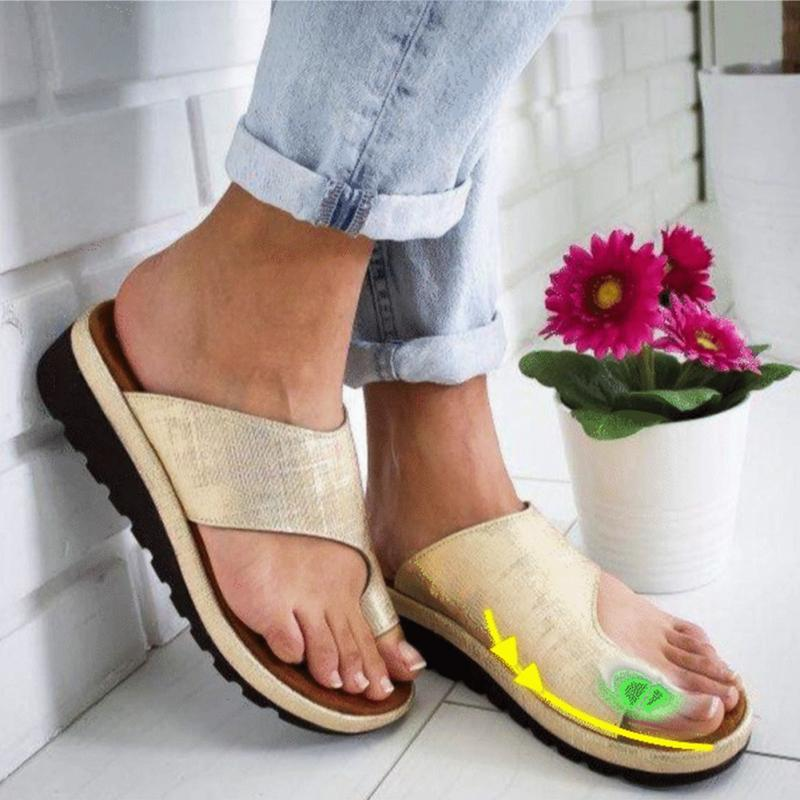 LASPERAL Women PU Leather Shoes Platform Flat Sole Ladies Casual Soft Big Toe Foot Correction Sandal Orthopedic Bunion Corrector big toe sandal