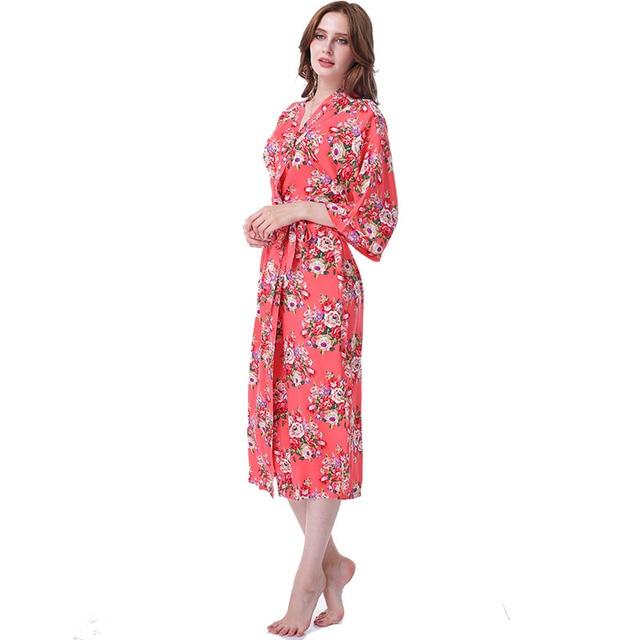 Vestido Longo Floral Kimono Robe Batas De Algodon Pajamas Cotton dressing  Sleepwear   Robe Dressing Gown Women Night Bathrobe 7f676656a