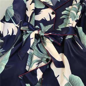 Image 3 - ZOOLIM jesień kobiety jedwabna piżama zestawy satynowa piżama moda bielizna nocna dwa kawałki + pas kobieta Homewear drukuj Sleep Lounge