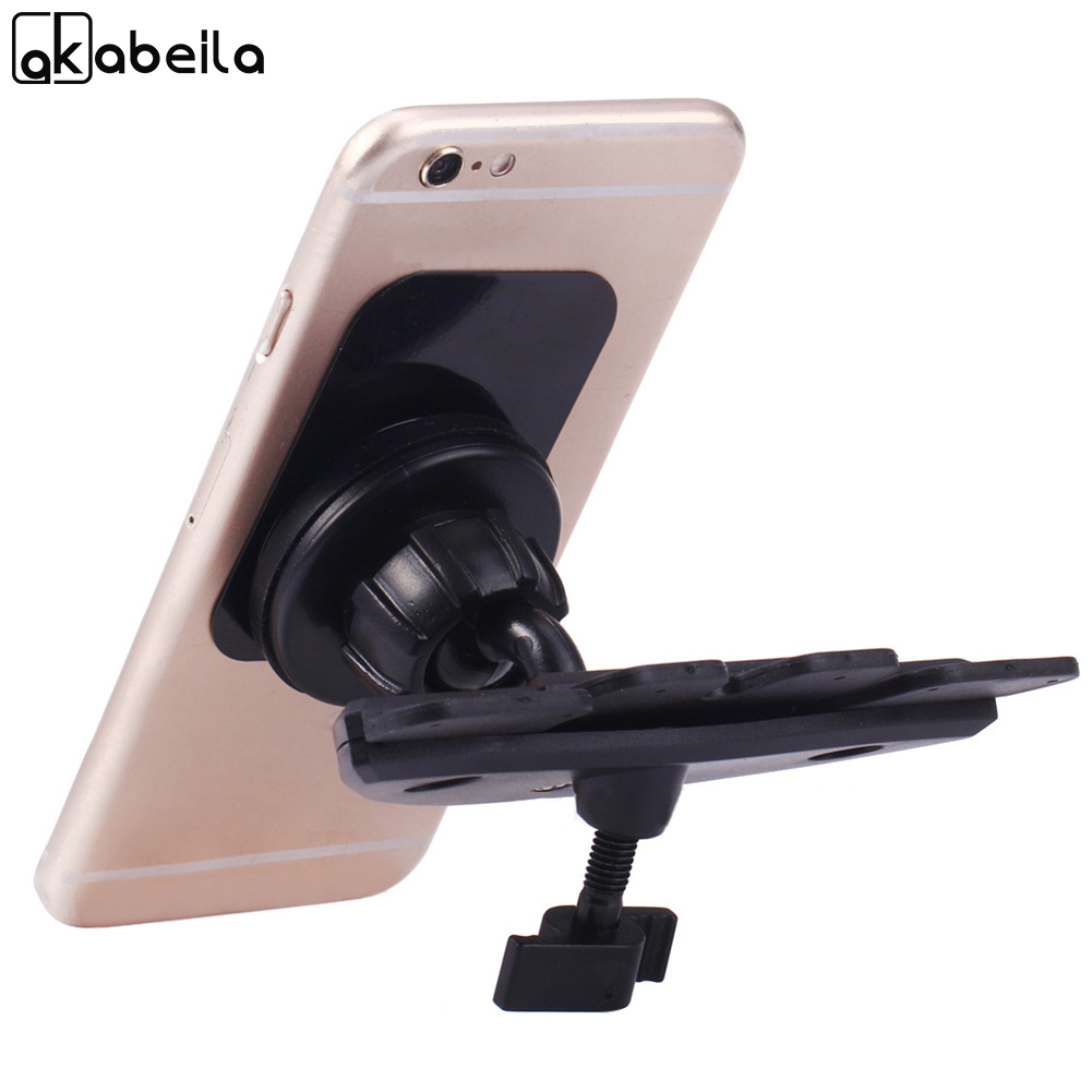 AKABEILA CD Slot Magnetic Phone Car Mount Holder Stand 360 Degree Rotation Universal Mount For Samsung iPhone Xiaomi