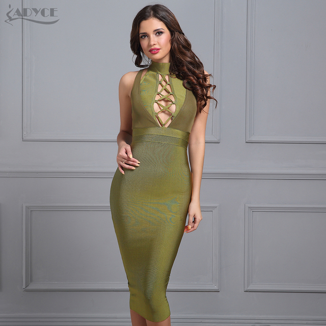 Adyce Women Bandage Dress 2017 Summer New Army Green Halter Sleeveless Hollow Out Bodycon Vestidos Sexy Evening Party Dress