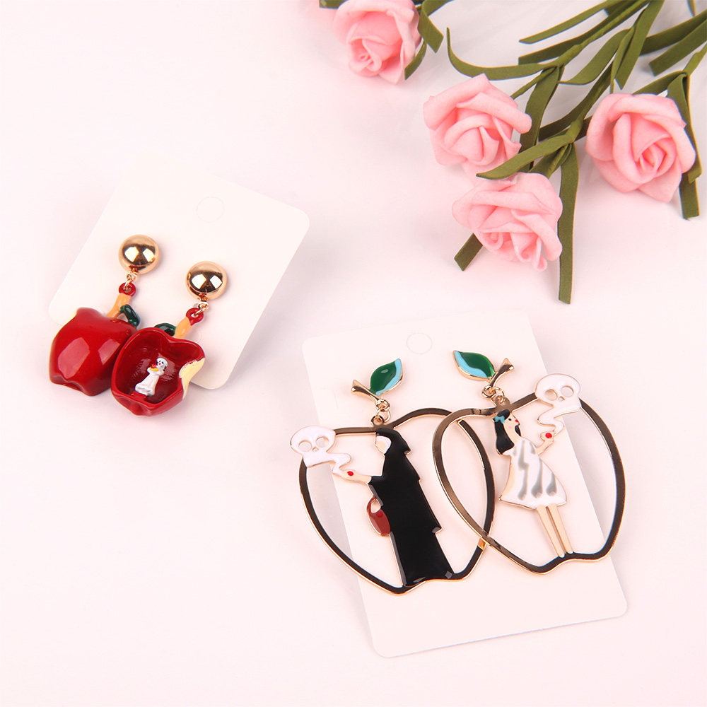 Amicable Lovely Fairy Tales Cartoon Snow White Black Queen Poison Apple Asymmetric Drop Earrings For Women Girls Jewelry
