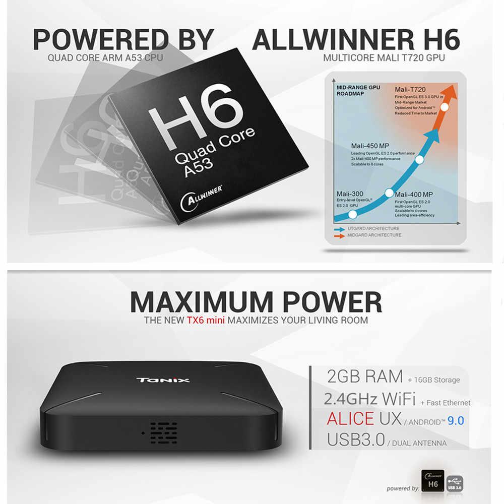 Tanix TX6 Mini Smart TV Box Android 9.0 Allwinner H6 Ultra HD 6K TIVI Box 2GB + 16GB Set Top Box 2.4GHz Wifi Truyền Thông Người Chơi H.265