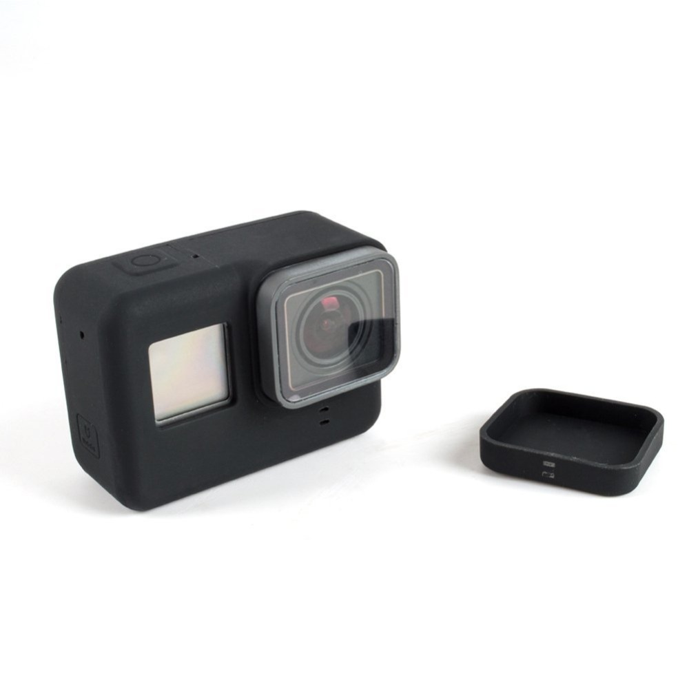 TELESIN Silicone Case Housing Protective Cover Shell Protector with Silicon Lens Cap for GoPro Hero 5