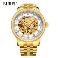 BUREI Man Watch Top Luxury Brand Male Clock Diamond Sapphire Mechanical Wristwatches Gold Steel Band Waterproof Watches Hot Sale