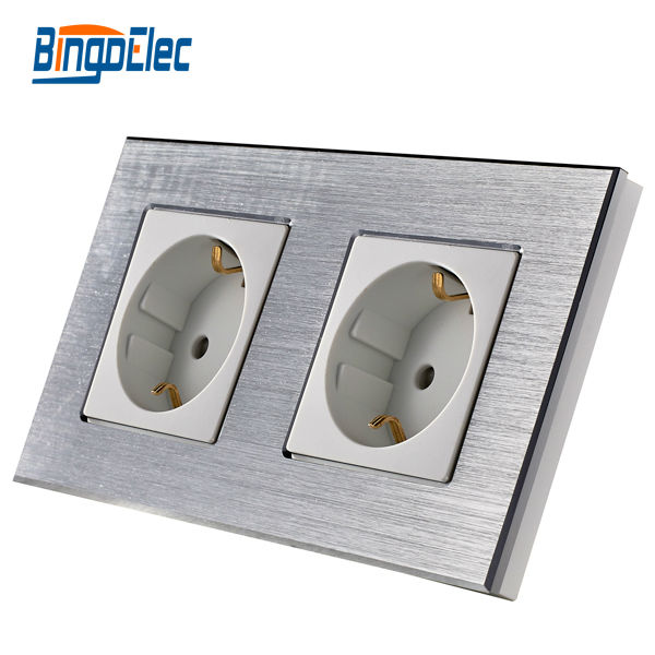 EU standard germany socket plus germany socket,silver aluminum panel,16A wall socket,Hot Sale цена 2017