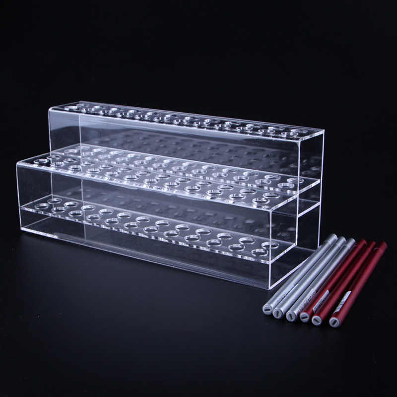 New Clear Two Layer 48 Grids Eyebrow Pencil Pen Holder Makeup Brush Eyeliner Storage Box Acrylic Display Stand Shelf