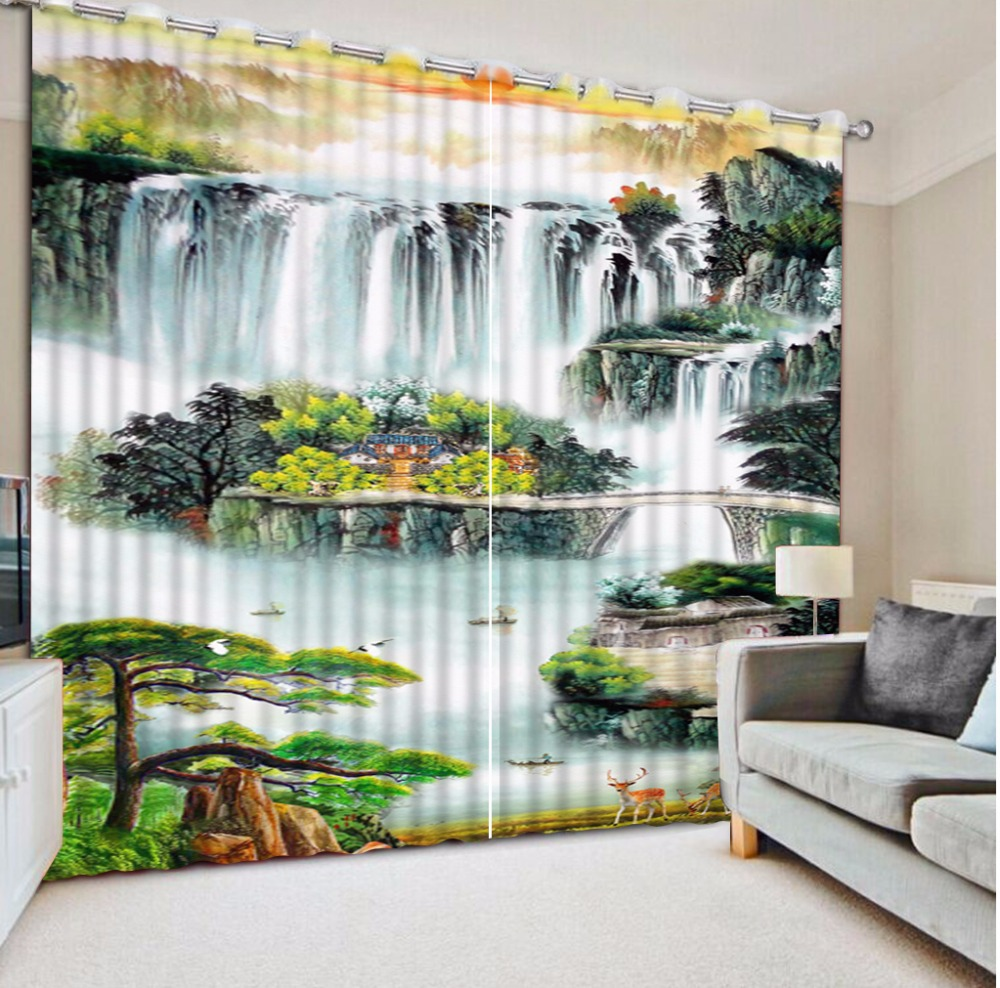 Chinese Blackout Bedroom Curtaina 3D Curtain mountain Large atmosphere great wall Curtains For Living room Chinese Blackout Bedroom Curtaina 3D Curtain mountain Large atmosphere great wall Curtains For Living room