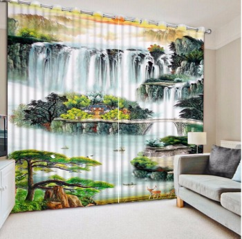 Chinese Blackout Bedroom Curtaina 3D Curtain mountain Large atmosphere great wall Curtains For Living room