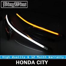 Автомобиль Стайлинг для светодио дный фар LED бровей дневные ходовые огни DRL с желтым указатель поворота Honda City 2013 9600Lm