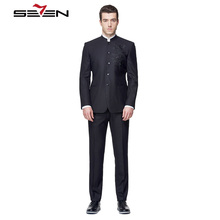 Seven7 Custom Made Men Dress Suits Blazer Mandarin Collar Solid Suits Fashion Elegance Tailor Made Suits (2 Pieces,Top and Pant)