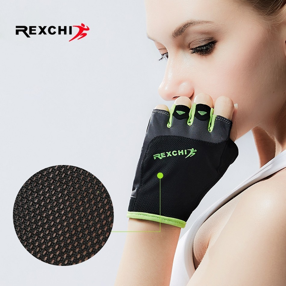 купить REXCHI Professional Gym Fitness Gloves Sports Equipment Power Weight Lifting Crossfit Workout Bodybuilding Fingerless Glove недорого