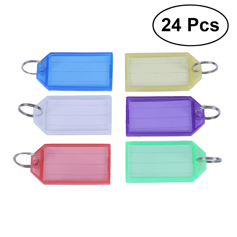 24pcs Multicolor Plastic Key Fobs Luggage ID Tags Labels with Key Rings (Mixed Color) ...
