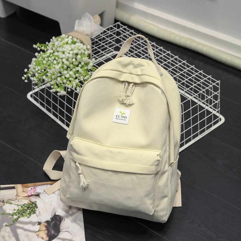 Fresh pure color canvas backpack japanese and korean fashion preppy style simple casual high school book