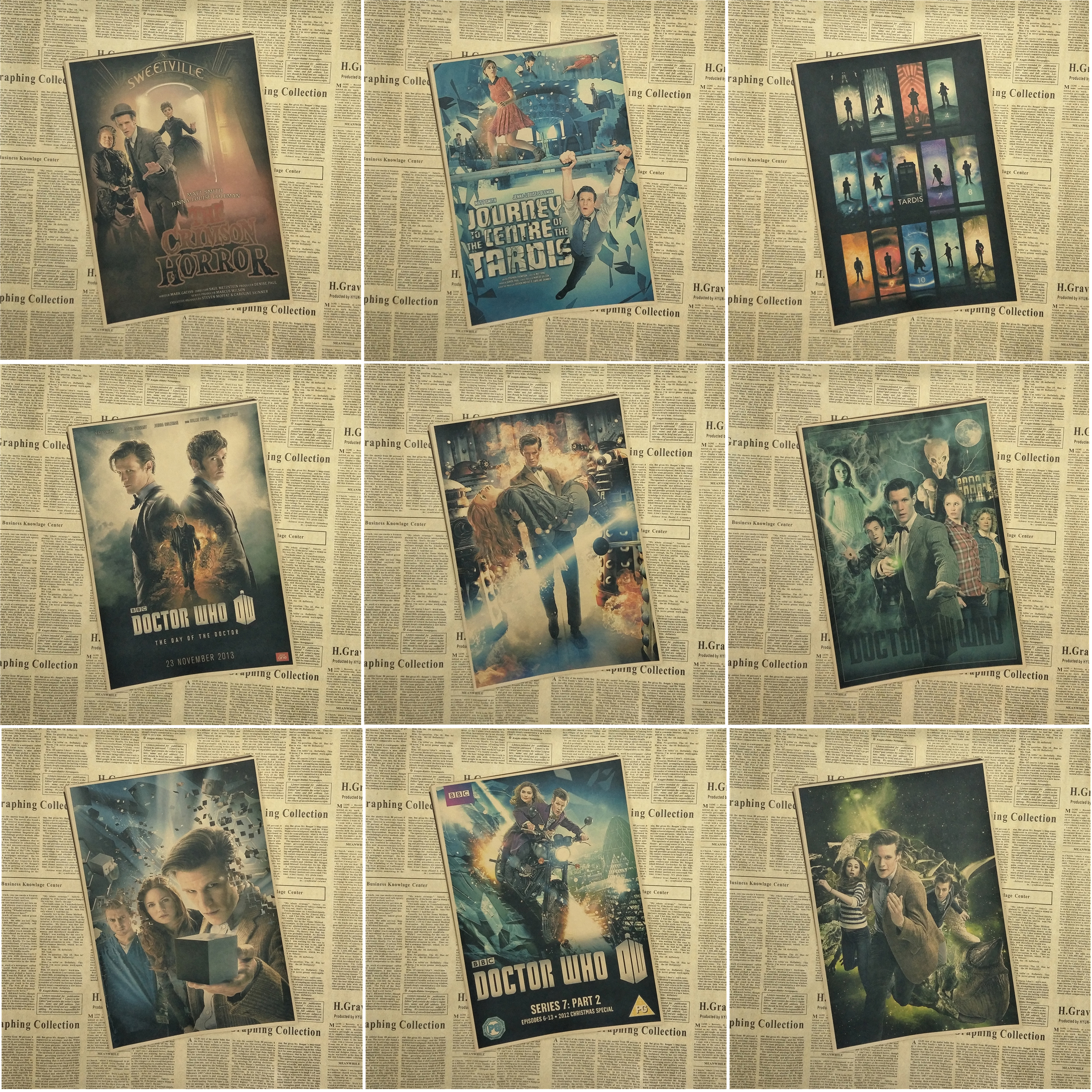 Doctor who tv movie posters Vintage Retro poster Matte Kraft Paper Wall Sticker