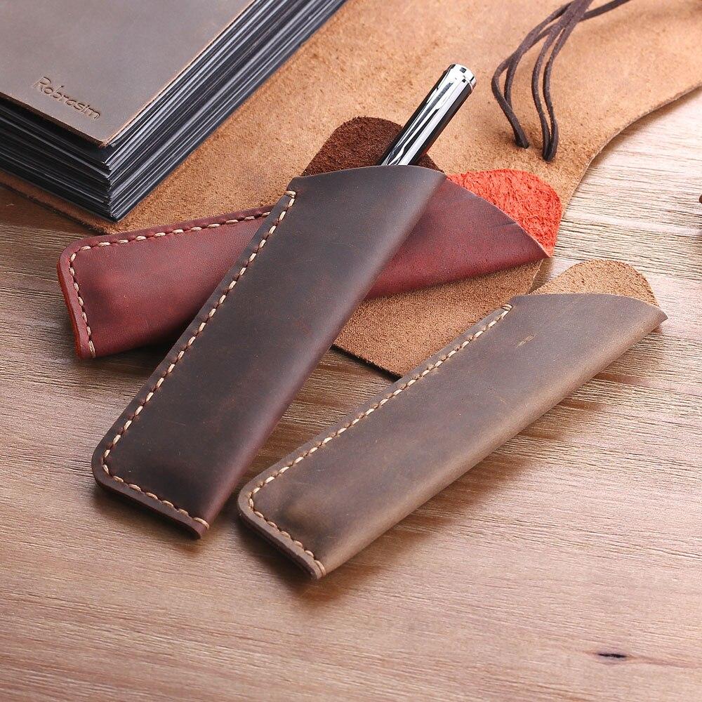 עתיק בעבודת יד אמיתי עור מזרקת עט תיק, כפול עט מחזיק פאוץ תיק, רך עיפרון מגן שרוול כיסוי