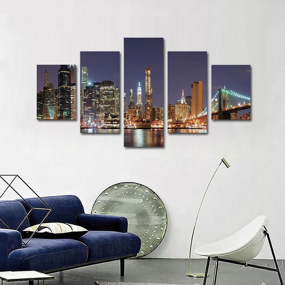 Unframed 5 panel HD Canvas Wall Art Giclee Painting City Night Scene Landscape For Living Room Home Decor Unframed