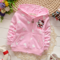 2015 autumn Korean baby clothing girl's love KT cat printing Zip Hooded coat kids thin cardigan  A225