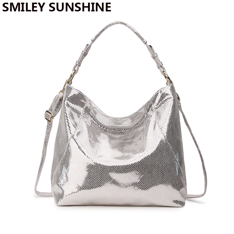 SMILEY SUNSHINE Luxury Brand Women Bag Leather Handbag Big Hobo Crossbody Bag For Women Shoulder Bag Ladies Silver Tote Hand Bag