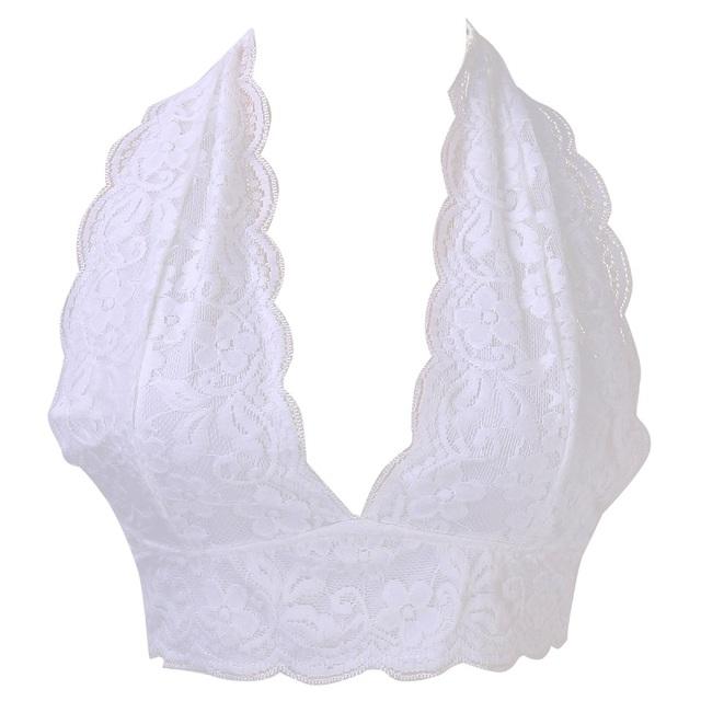 Women Floral Sheer Lace Triangle Bralette Crop Top Bustier