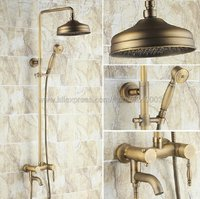 Antique Brass Shower Faucets Set 8'' Rainfall Shower Head Handle Shower Mixer Tap Swivel Tub Spout Bath Shower Krs153