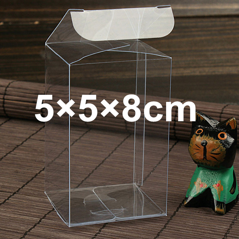 50PCS 5*5*8cm Transparent waterproof Clear PVC boxes Packaging small plastic box storage for food/jewelry/Candy/Gift/cosmetics