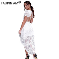 TAUPIN AM Back Lace Up Embroidery Dress Sexy V Neck Short Sleeve Lace Trumpet Women Dress
