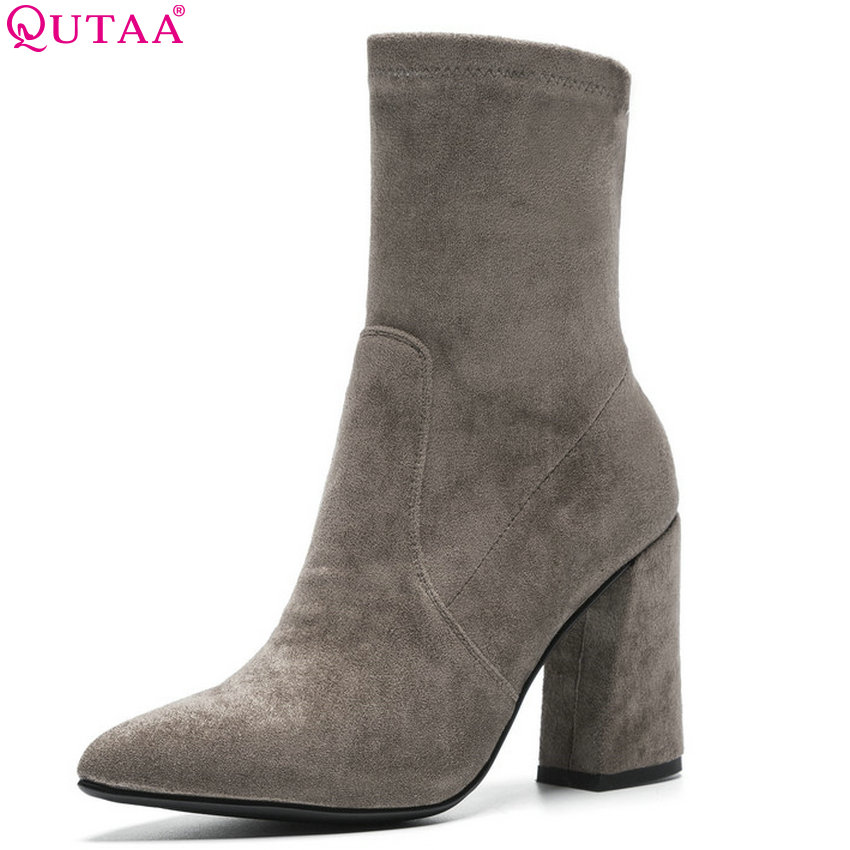 QUTAA 2019 Woman Mid Calf Boots Elastic Fabric Women Shoes Fashion Pointed Toe Sock Winter Women Motorcycle Boots Size 34-43