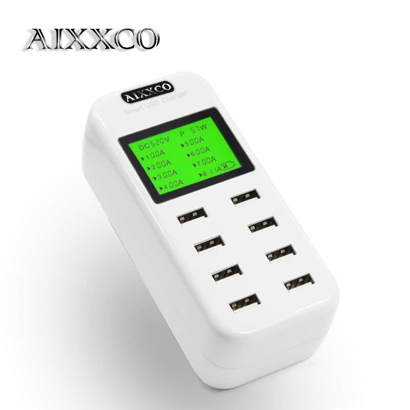 imágenes para AIXXCO Inteligente 8A cargador USB con Pantalla LCD con 8 puertos de alimentación usb para el iphone samsung teléfono Móvil