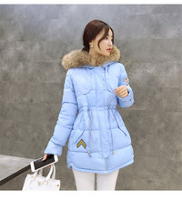 Winter women s Clothing Fur Collar Hooded Down Padded Coat Winter Female Long coats jackets Army