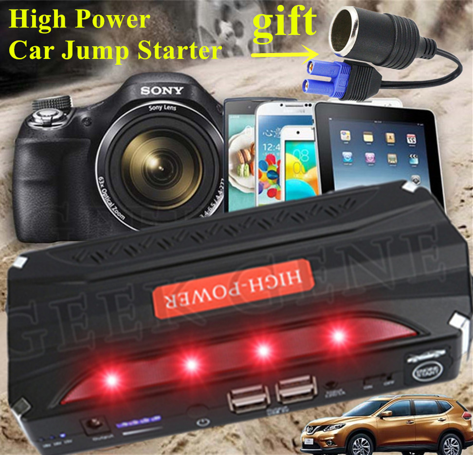 High Power Starting Device 12V Petrol Diesel Car Jump Starte Power Bank 600A Paack Car Charger For Car Battery Booster Buster CE 2016 high capacity gasoline diesel car jump starte 12v emergency battery charger 4usb portable power bank sos lights free ship