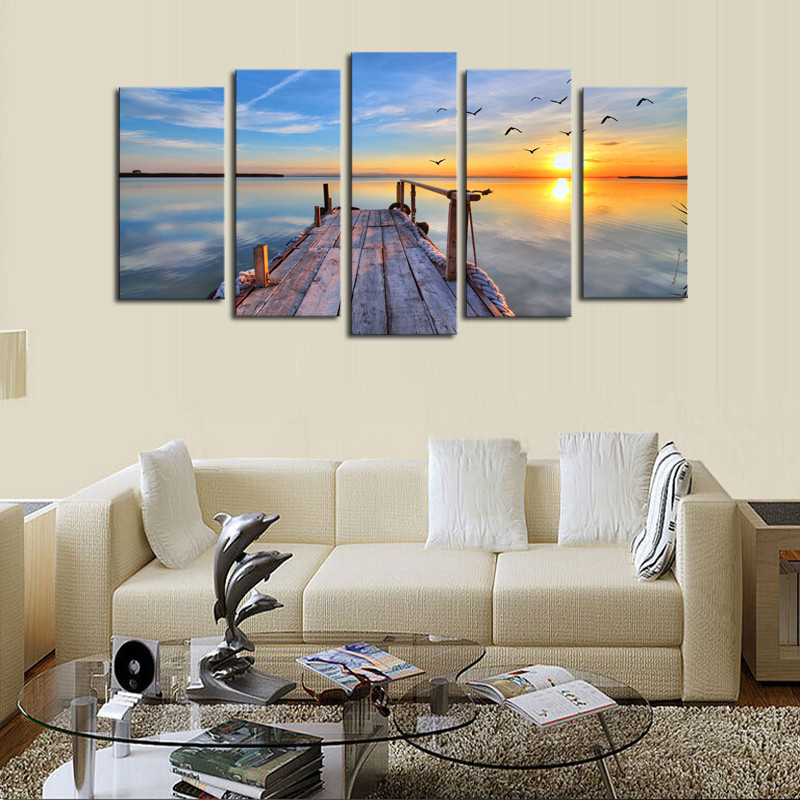 ∞framed 5 Panels Sunset Seascape Scenery Picture Print Painting ...