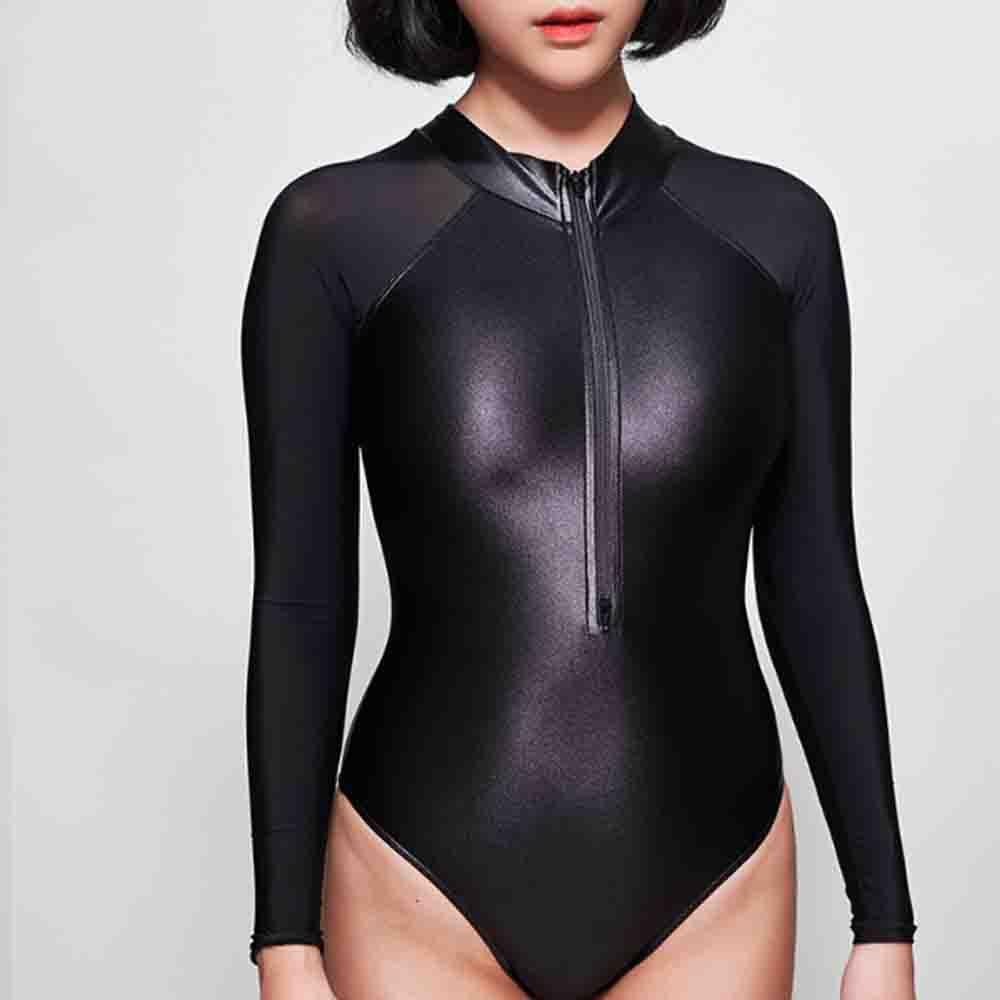 LEOHEX 2019 Sexy One Piece Swimsuit Back zipper Swimwear Bodysuit High Cut One Piece Swimwear Women Swimsuits Japanese Bathing