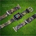 Camuflagem couro genuíno apple watch banda da marinha do exército da força aérea cam esporte casual pulseira cinta para iwatch wachband com adaptador