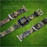 Camuflaje cuero genuino de apple watch band army navy air force cam sport casual correa de pulsera para iwatch wachband con adaptador