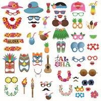 60 Unids/set Hawaii Holiday Estilo Máscara de Papel Hierba Falda Seaside Coco Imagen Marco Del Cumpleaños Fiesta de DIY Photo Booth Atrezzo Decoración