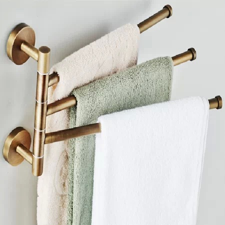 European style bathroom towel hanger Bronze movable towel rod Folding rotary towel rack Antique activities towel 3 bar BR-88013 european copper gold towel rack toilet towel bar bathroom antique rotary towel bar antique activities towel 3 bar f91381