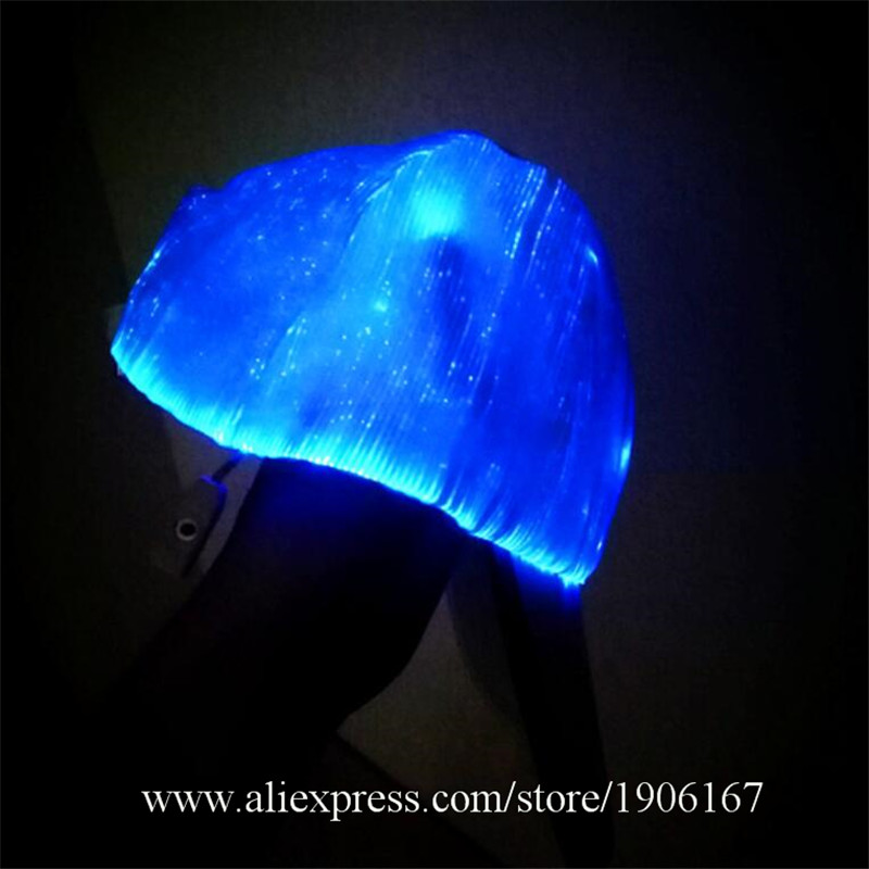 New led fiber 7 color light hat Bar music festival Judi night light hat Fashion light hat03