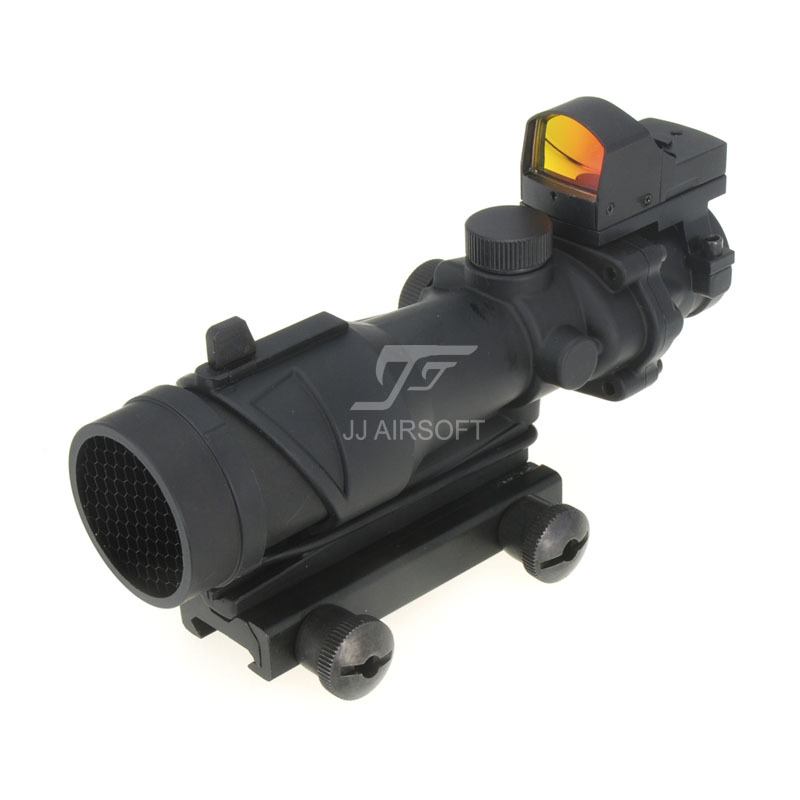 JJ Airsoft ACOG Style 4x32 Scope with Docter Mini Red Dot Light Sensor & Killflash / Kill Flash (Black) FREE SHIPPING jj airsoft acog style 4x32 scope with docter mini red dot light sensor black free shipping