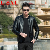 new high quality plus size 8XL 7XL Men Leather Jacket Genuine Real skin Brand Black Male Bomber Motorcycle Biker Man's Coat