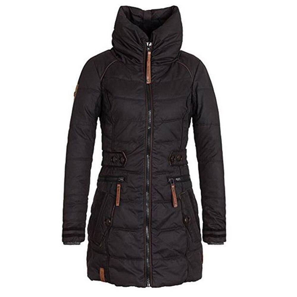 Winter Black Long   Parkas   Coats Women Slim Thermal Fleece Plus Size Thicken Hooded Zipper Overcoats Windbreak Cotton Warm Outwear
