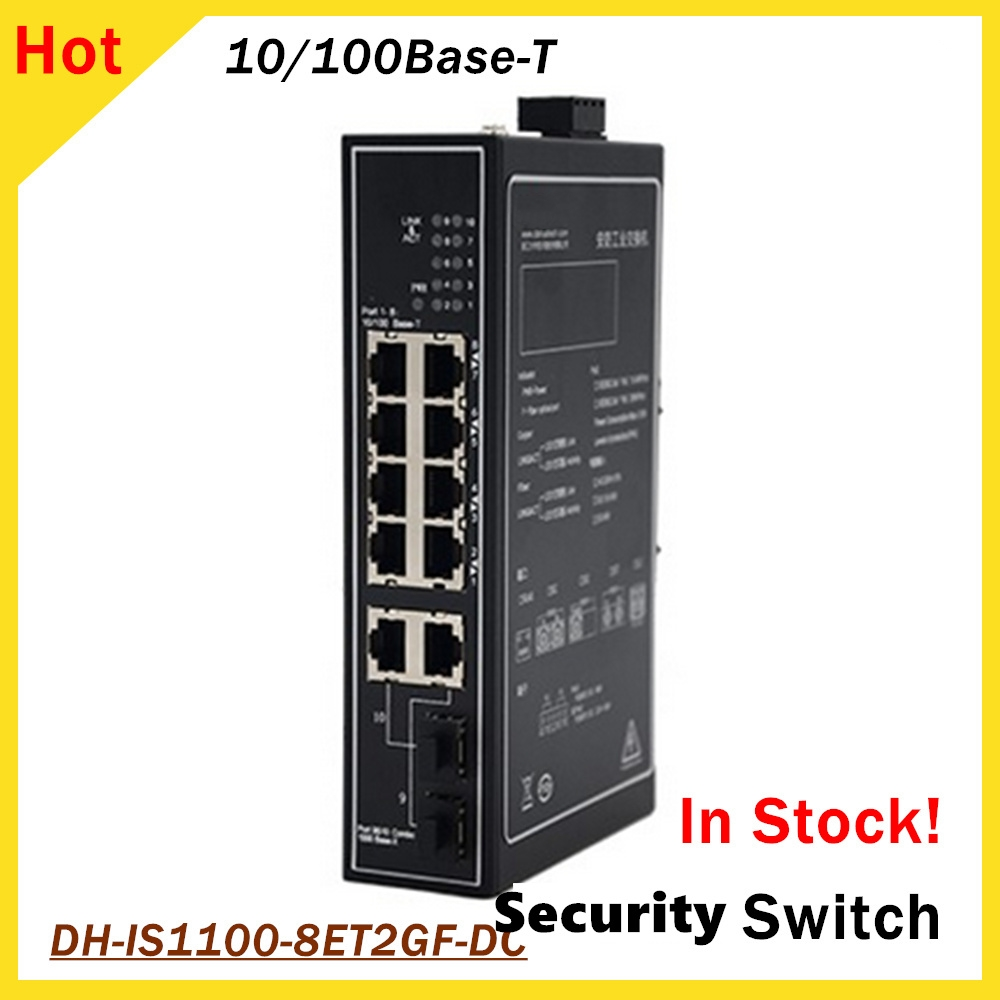 Dahua 8 Ports Security Special Switch DH-IS1100-8ET2GF-DC 1080p 8pcs 10/100Base-T Ethernet Ports For IP System CCTV System