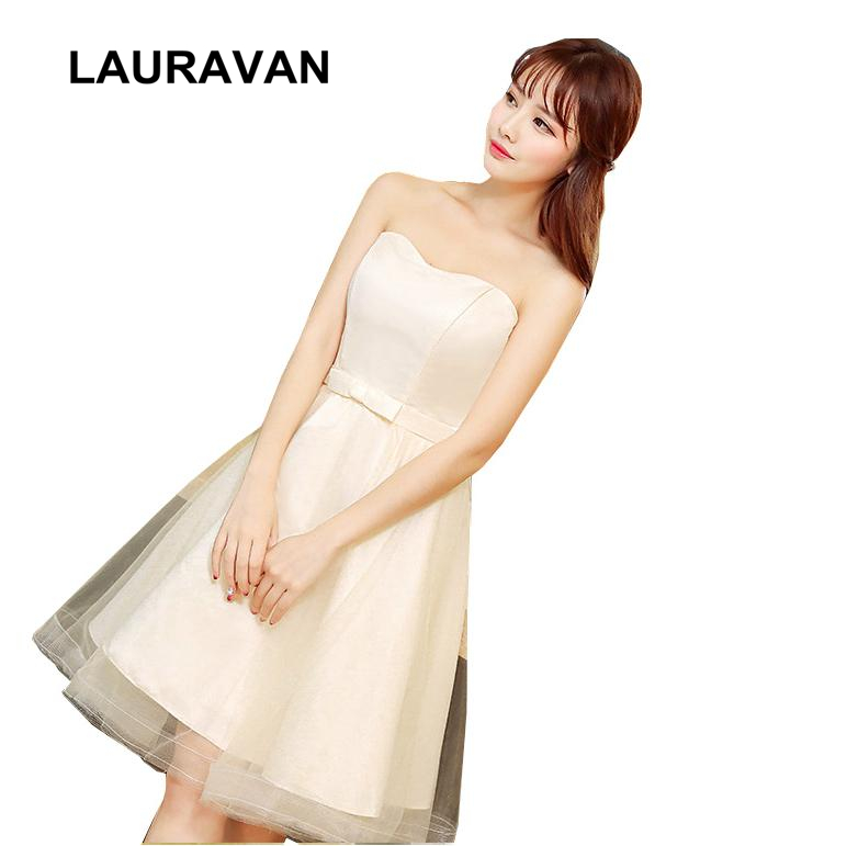 Short Strapless Lace Up Back Champagne Bridemaids Dress Girls Bridesmaid Dresses Formal Gown Short Party Wedding Free Shipping