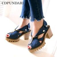 CDPUNDARI Denim Platform sandals Women High heel Sandals zipper summer shoes Big Size chaussures femme ete 2019