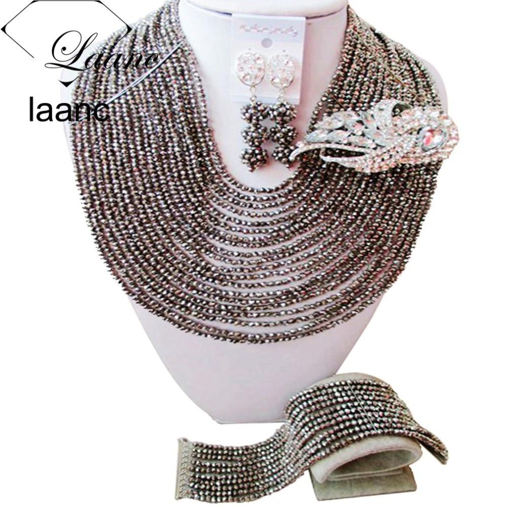 Brand Laanc Fashion Silver Bridal Jewelry Sets Crystal African Dubai Nigerian Wedding Beads AL184