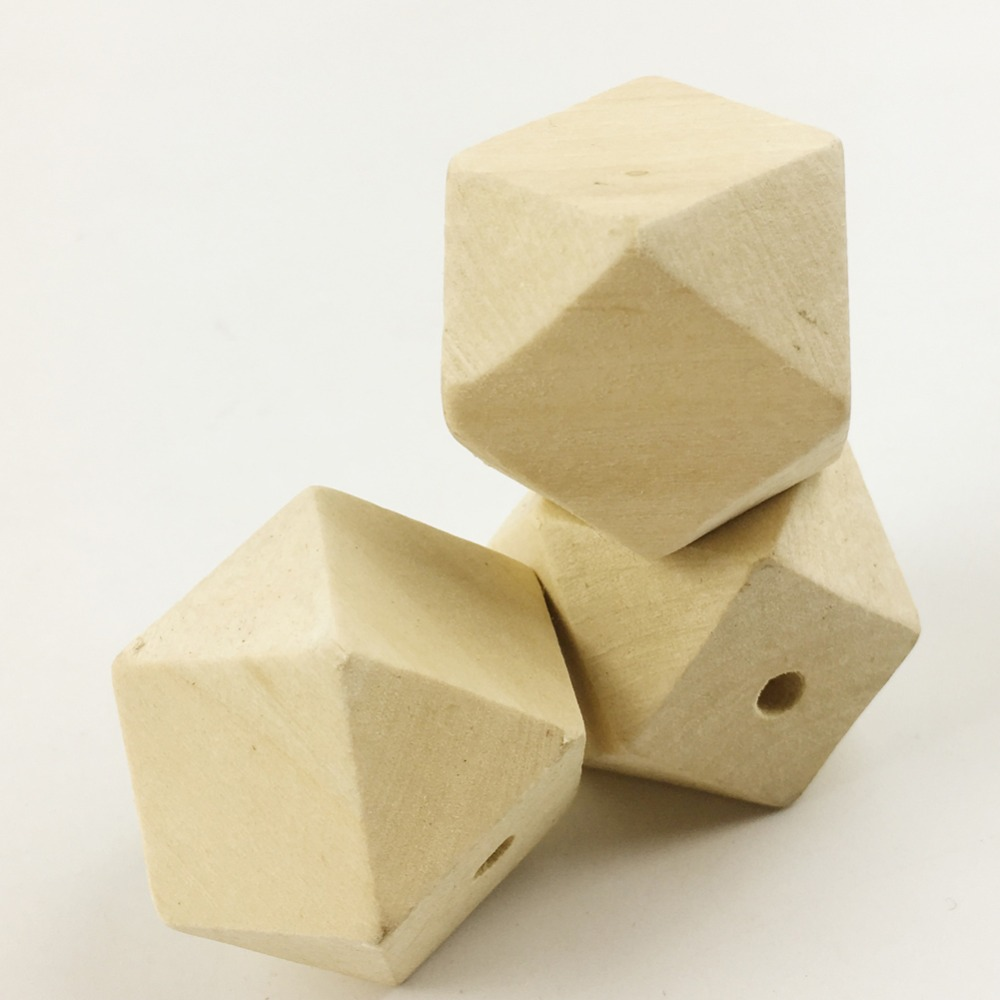 30mm 60pcs Large Geometric/hexagon Wooden Beads Garden Home Decoration Chunky Unpainted Unfinished Jewellery Cube Beads