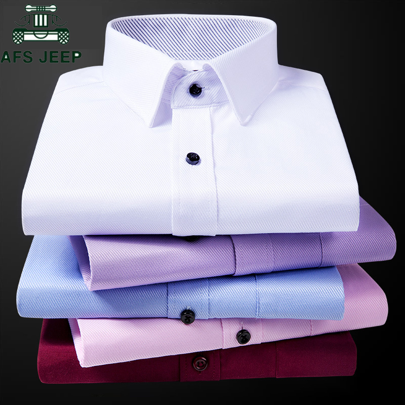 2019 New Men's Twill Stripes Shirt Long Sleeve Brand Soft Casual Slim Fit Dress Shirts Men White Wedding Shirt Chemise Homme